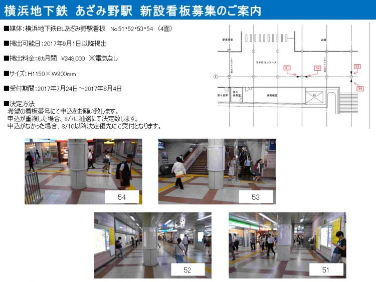 横浜市営地下鉄あざみ野駅新設看板2017