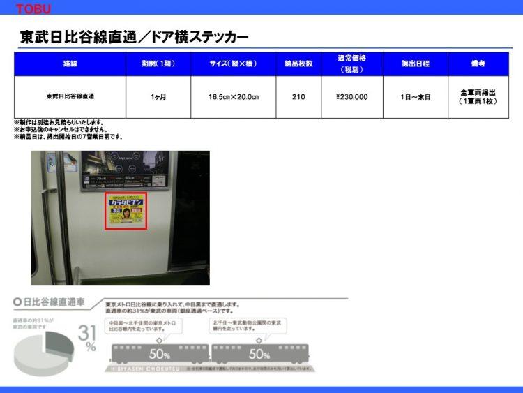 東武日比谷線直通ドア横ステッカー
